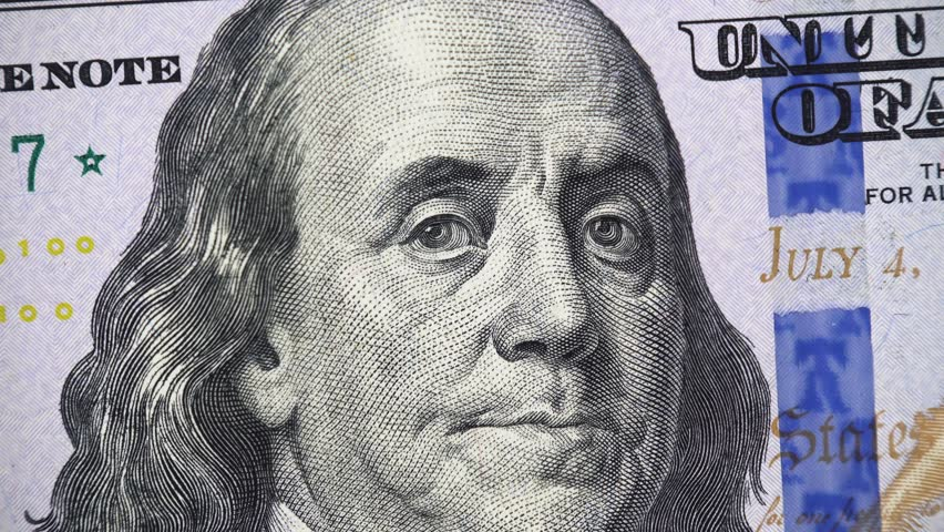 Benjamin Franklin face on new US 100 dollar bill 2013 rotating, money close up. 4K ultra hd video clip | Shutterstock HD Video #1020352132
