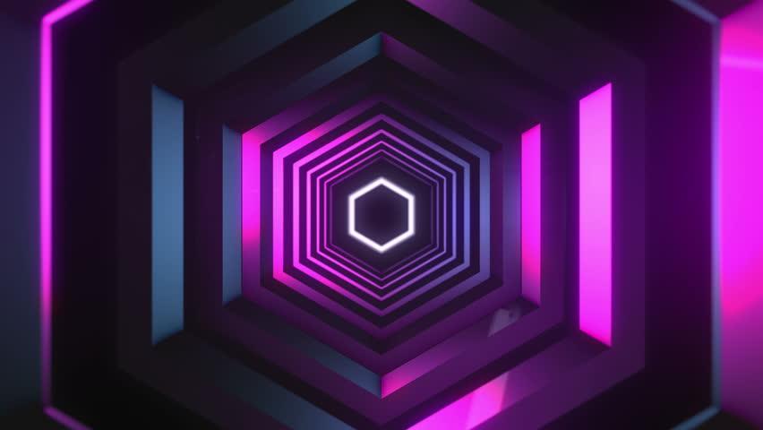 4K Animation of proton purple color technology tunnel. Futuristic metal corridor with reflection. Neon light.