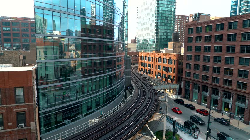 Trains curve through Downtown Chicago via the L CTA system | Shutterstock HD Video #1020366841