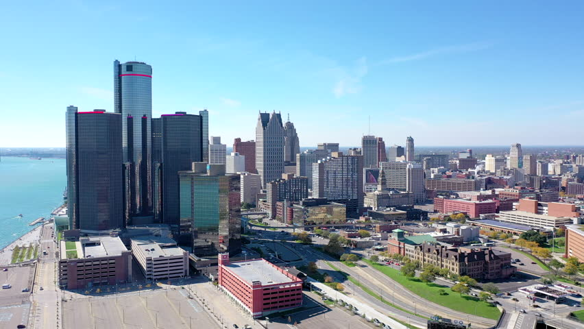 Detroit, MI / United States - 10 14 2018: Detroit, MI - October 2018 - A beautiful view of the Detroit skyline featuring the Renaissance Center Skyscraper