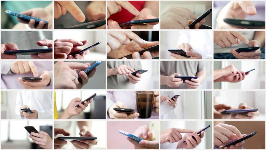 Collage of hand using modern touchscreen smart phone close-up Royalty-Free Stock Footage #1020385573