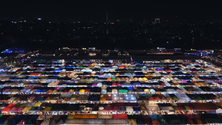 Video timelapse of Talad Rod Fai Night Market, Ratchada, Bangkok, Thailand | Shutterstock HD Video #1020406366