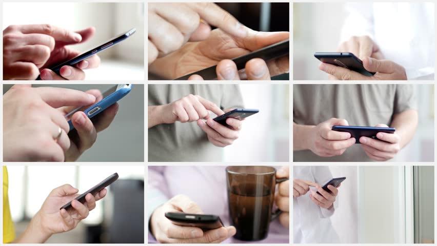 Collage of hand using modern touchscreen smart phone close-up | Shutterstock HD Video #1020411088