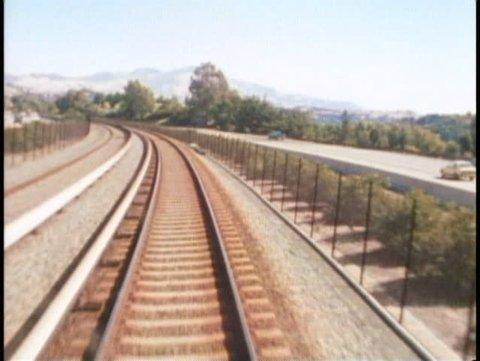 SAN FRANCISCO, CALIFORNIA, 1979, BART subway system, above ground, POV forward