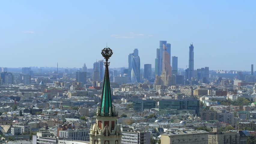 Flying over a modern russian city   Shutterstock HD Video #1020428944