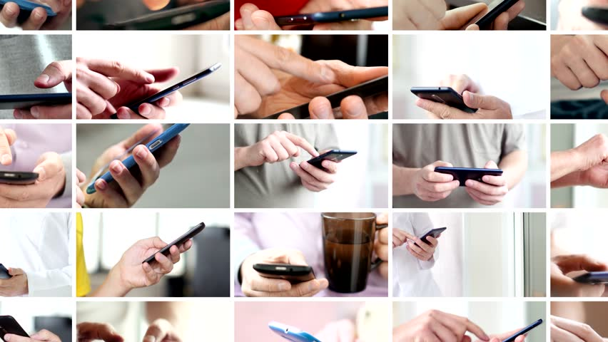 Collage of hand using modern touchscreen smart phone close-up | Shutterstock HD Video #1020430684