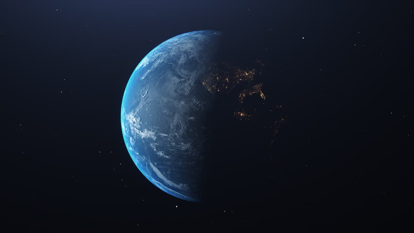 Planet Earth rotation view of the dark and bright side LOOP | Shutterstock HD Video #1020430810