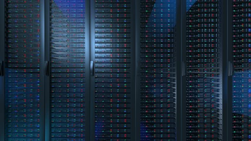Servers close up. Modern data center.