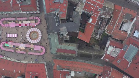 Winter Christmas Market Aerial View With People Enjoying the City Attractions