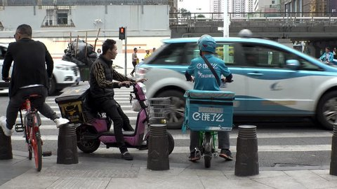 """SHENZHEN, CHINA - CIRCA NOVEMBER 2018 : Popular FOOD DELIVERY SERVICE """"MEITUAN WAIMAI"""" and """"Ele.me FOOD DELIVERY"""" in Shenzhen."""