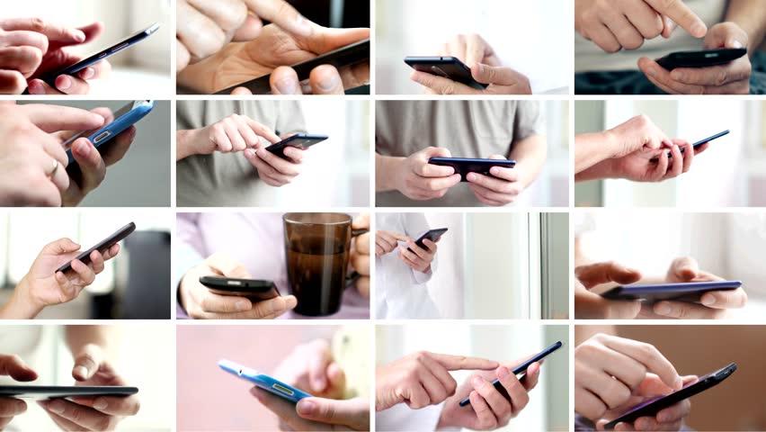 Collage of hand using modern touchscreen smart phone close-up | Shutterstock HD Video #1020487108