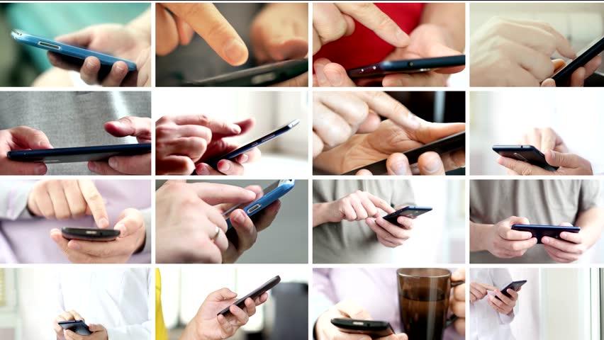 Collage of hand using modern touchscreen smart phone close-up | Shutterstock HD Video #1020487111