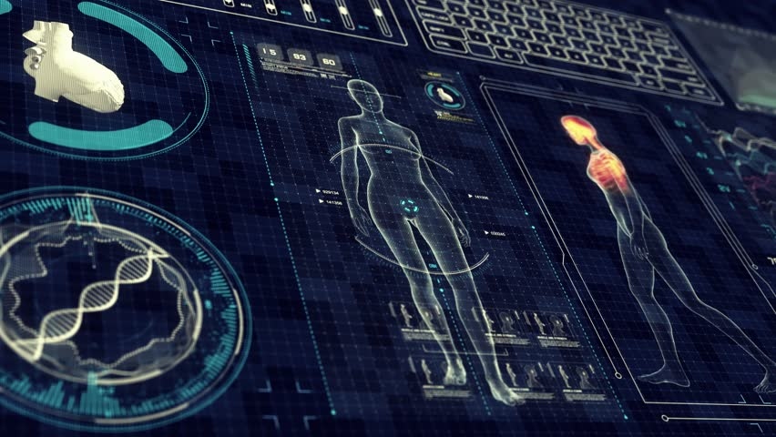 Human Female Anatomy WALKING with Futuristic Touch Screen Scan Interface in 3D x-ray - LOOP