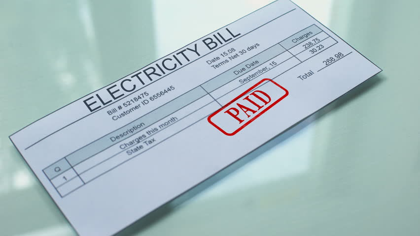 Electricity bill paid, hand stamping seal on document, payment for services Royalty-Free Stock Footage #1020507406
