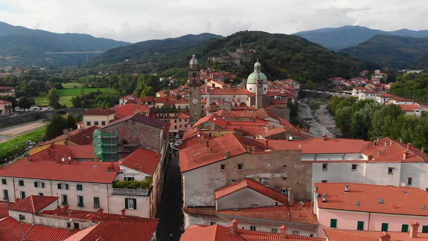 The town of Pontremoli on the Apennine mountains in Italy | Shutterstock HD Video #1020529300