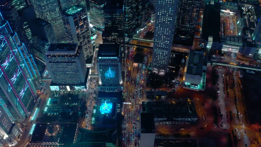 Aerial view from drone of Hong Kong city at night time | Shutterstock HD Video #1020562489