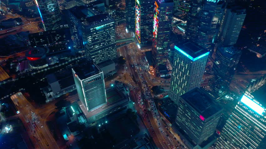 Aerial view from drone of Hong Kong city at night time | Shutterstock HD Video #1020562510