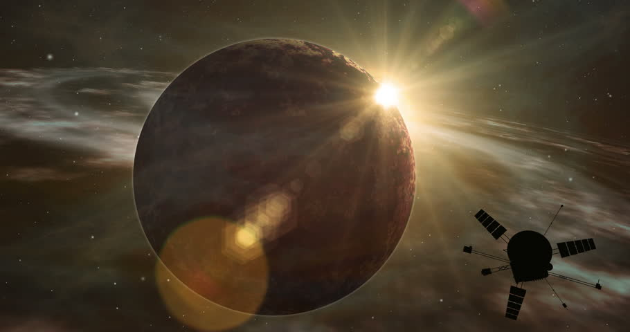 Space probe orbiting and explore distant two suns solar system and exoplanets. Realistic deep cosmos star ship traveling light-years from earth.
