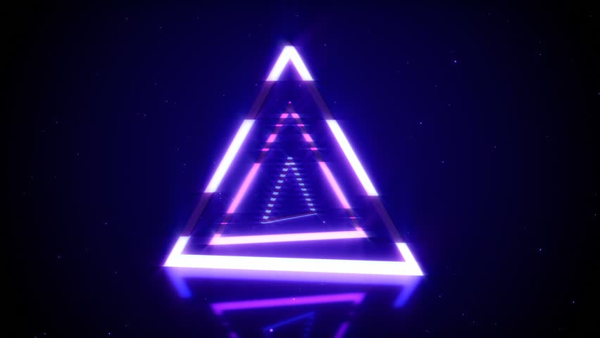Rotations of a shining neon triangle in modern fluorescent lighting with reflections, 3D seamless loop animation | Shutterstock HD Video #1020579859