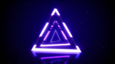 Rotations of a shining neon triangle in modern fluorescent lighting with reflections, 3D seamless loop animation