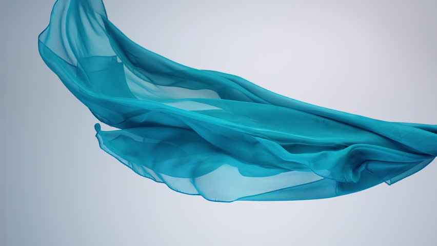 Green transparent fabric flowing by wind, slow motion Royalty-Free Stock Footage #1020580459
