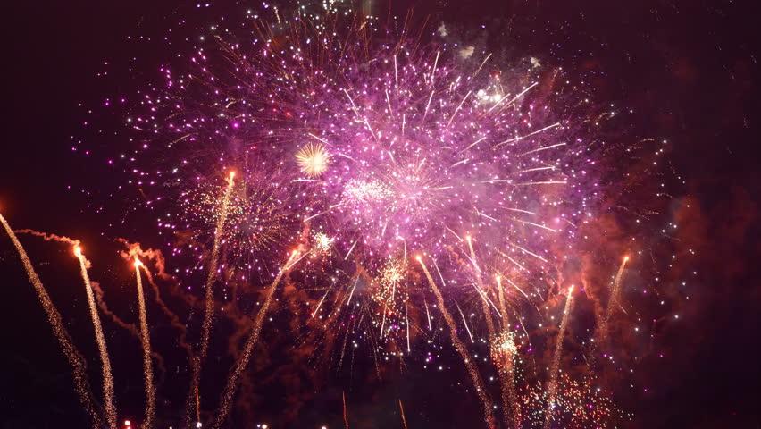 Fireworks show in 4K slow motion 60fps | Shutterstock HD Video #1020580495