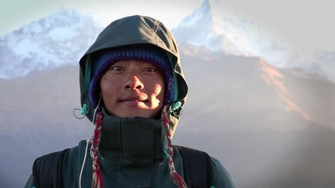 Portrait of Local Ethnic Young Man Working as Porter in the Himalayas, Nepal