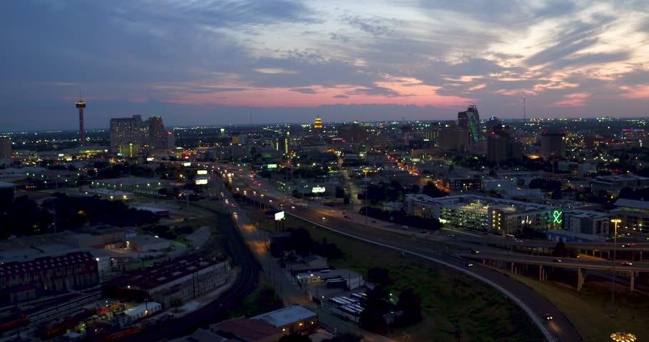 San Antonio, TX / United States - 09 18 2017: San Antonio Aerial view at night