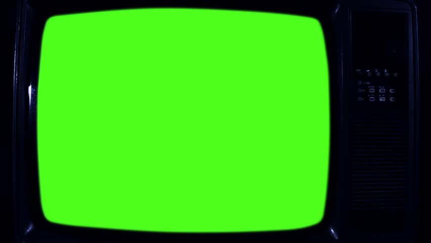 1980s Television with Green Screen. Night Tone. Zoom Out. Ready to replace green screen with any footage or picture you want. | Shutterstock HD Video #1020642988