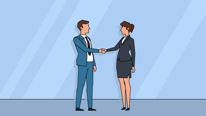 Flat cartoon business people characters  success shake hands team agreement consent concept animation Royalty-Free Stock Footage #1020656773
