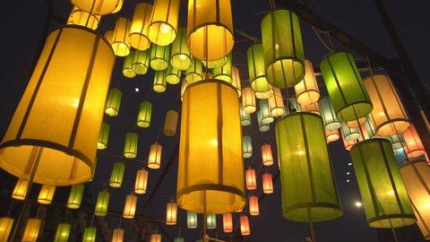 Lanna lanterns at night, Yi peng Thai lantern festival.
