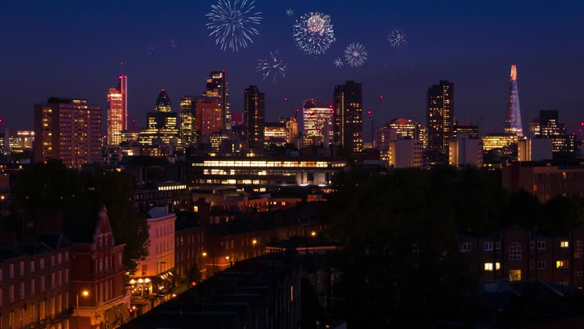 Time lapse: Fireworks with a panoramic night view at London, UK.