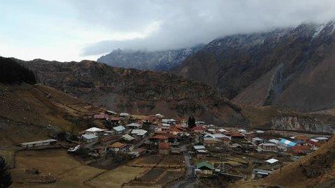 Aerial view of small village. Kazbegi, Stepantsminda Village