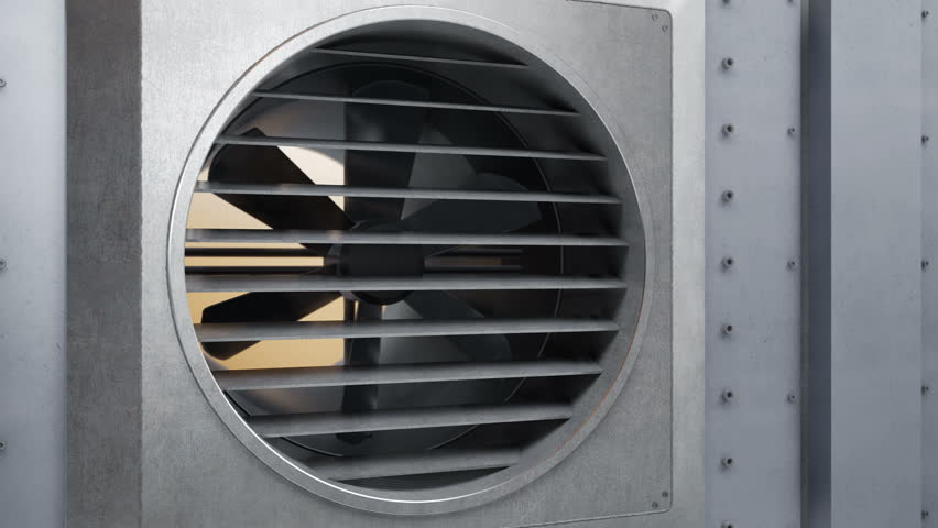 Air ventilation system starts working and fan spinning. Resume work of heating or cooling system. 60 fps animation.