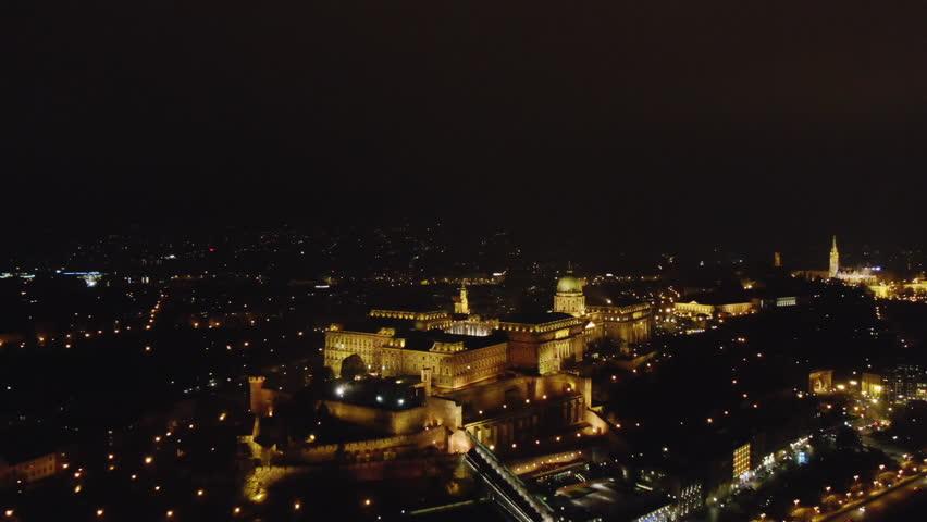 Aerial view Budapest, Hungary illuminated at night   Shutterstock HD Video #1020746218