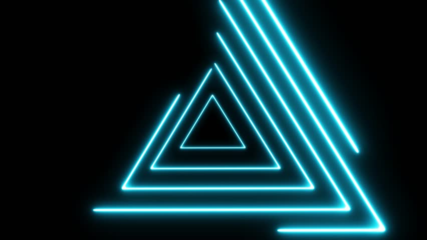 Neon lights abstract motion animated background.Abstract motion lighting equipment and lights effects.Neon lights looped animation for music videos and fluid background.Triangle neon lights.