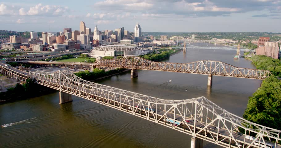 Drone Shot, Bridges into Cincinatti | Shutterstock HD Video #1020766921