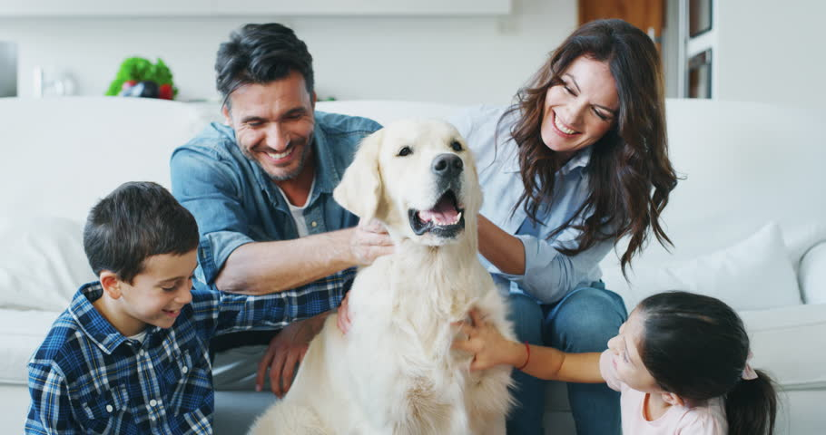 Portrait of happy family cuddling their dog having fun together in living room in slow motion. Shot with RED camera in 8K. Concept of happy family, parenthood, love for animals