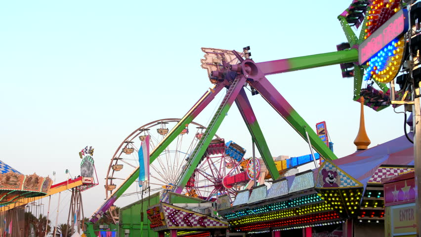 Ventura, California / United States - 08 07 2018: Rides and sideshows at the 2018 Ventura County Fair.