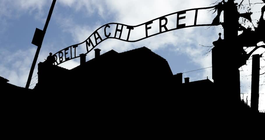 Arbeit Macht Frei Auschwitz Gate Silhouette day Timelapse