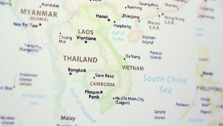 Vietnam Laos on a political map of the world. Video defocuses showing and hiding the map. Royalty-Free Stock Footage #1020894526