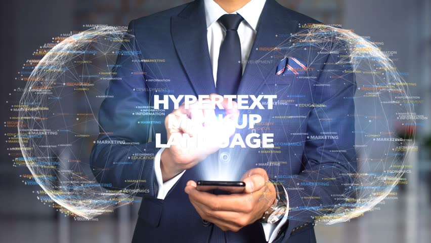 Businessman Hologram Concept Tech - HYPERTEXT MARKUP LANGUAGE | Shutterstock HD Video #1020897517
