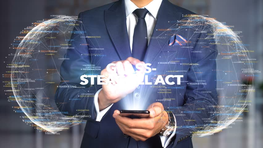Businessman Hologram Concept Tech - GLASS-STEAGALL ACT | Shutterstock HD Video #1020897658