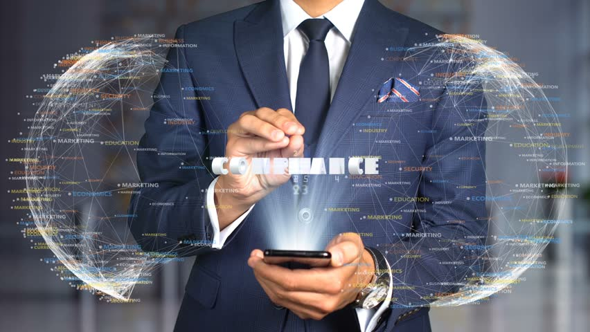 Businessman Hologram Concept Tech - COMPLIANCE Royalty-Free Stock Footage #1020898225