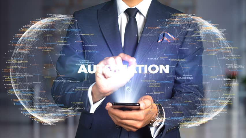 Businessman Hologram Concept Tech - AUTOMATION Royalty-Free Stock Footage #1020898480