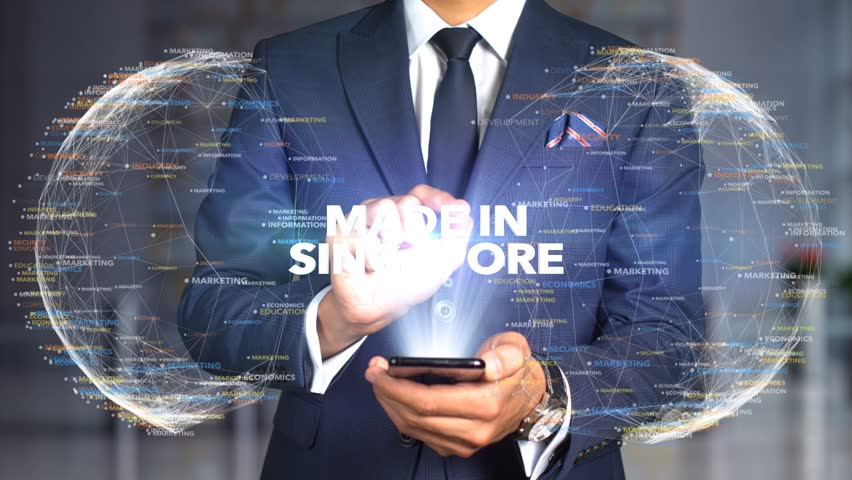 Businessman Hologram Concept Made In - Made In Singapore | Shutterstock HD Video #1020898792