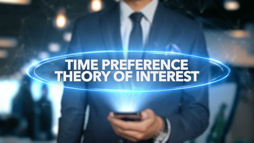 Businessman Hologram Economics - Time preference theory of interest Royalty-Free Stock Footage #1020899296