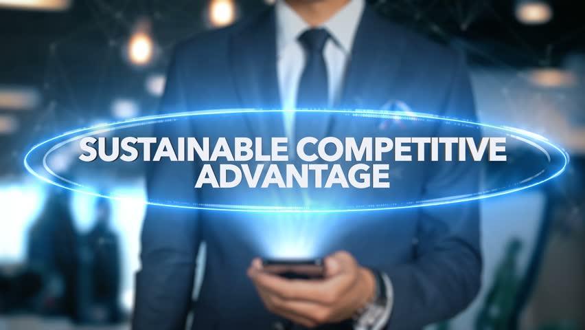 Businessman Hologram Economics - Sustainable competitive advantage Royalty-Free Stock Footage #1020899350