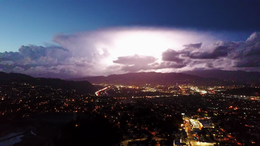 Lightning Storm Strike over Los Angeles City at Night
