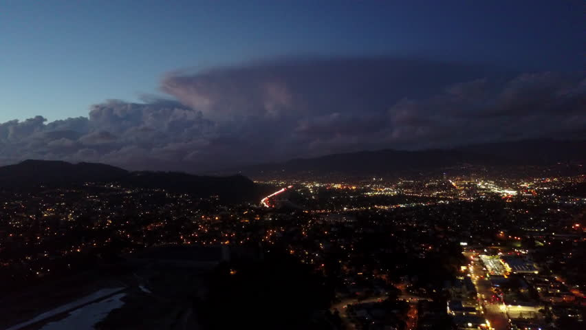 Beautiful Lightning Bolt Strike in storm over Los Angeles | Shutterstock HD Video #1020901807